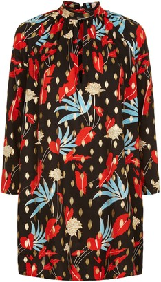 Traffic People Floral Print Mini Shift Glib Dress In Black