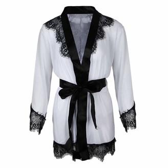 freneci Womens Lace Bride Kimono Robe Satin Silk Night Dressing Gown T Back - White M