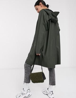 Rains long waterproof jacket in green