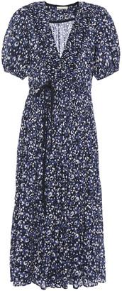 Ulla Johnson Kemala Bow-detailed Printed Cotton-gauze Midi Wrap Dress