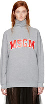 MSGM Grey Logo Turtleneck Sweatshirt