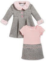 Bonnie Baby Baby Girls' 2-Pc. Dress & Coat with Faux Fur Trim Set
