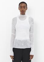 Issey Miyake white chiffon twist long sleeve top
