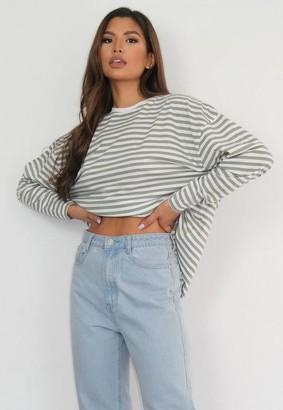Missguided Tall Sage Stripe Drop Shoulder Long Sleeve T Shirt