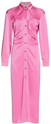 Nanushka Kinsley Satin Button-Up Long-Sleeve Dress