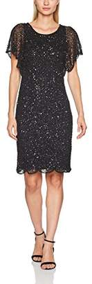 Adrianna Papell Women's Fully Beaded Cocktail Flutter Sleeves Special Occasion Dress,( UK) (44 EU)