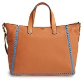 Tory Burch Medium Whipstitch Leather Tote - Brown