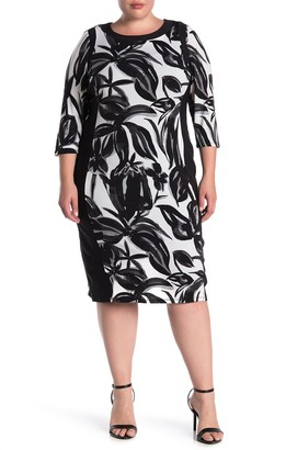 Maggy London Quarter Sleeve Jersey Sheath Dress (Plus Size)