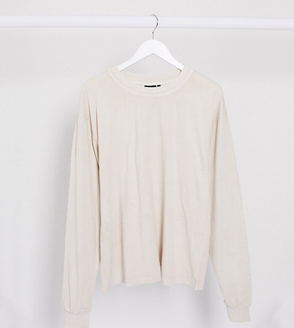 Asos Tall ASOS DESIGN Tall oversized long sleeve t-shirt with cuff detail in washed stone