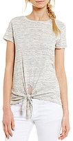 Soprano Round Neck Short-Sleeve Tie-Front Knit Tee