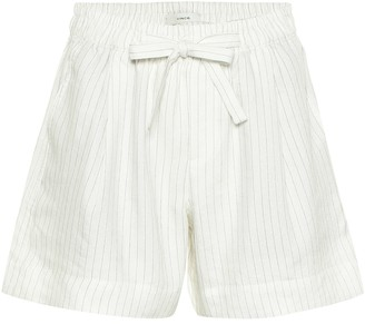 Vince Striped linen-blend shorts