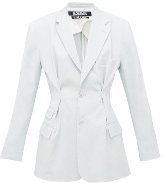 Jacquemus Rafaella Pleated Slim-fit Canvas Jacket - Womens - Light Blue