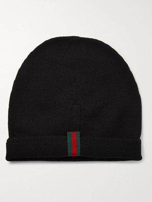 Gucci Webbing-Trimmed Cotton-Blend Beanie