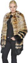 Yves Salomon Fox Fur Coat With Stripes