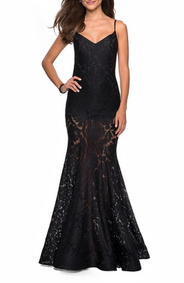 La Femme Stretch Lace Mermaid Evening Dress