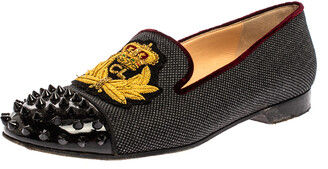 Christian Louboutin Black Canvas And Patent Leather Harvanana Spiked Cap Toe Smoking Slippers Size 38
