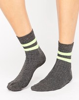 Asos Neon 2 Stripe Ankle Socks