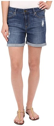 Liverpool Vickie Shorts w/ Destruction in Montauk Mid Blue