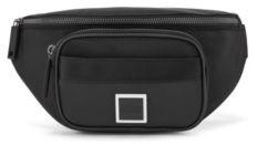 HUGO BOSS Logo Belt Bag In Nylon And Embossed Faux Leather - Black