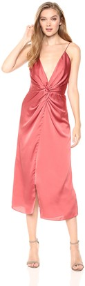 Keepsake Women's Romance Sleeveless V Neck Draped Midi Dress