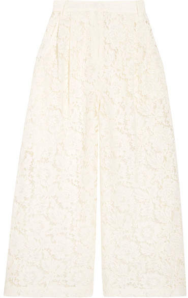 Valentino Cropped Corded Cotton-blend Guipure Lace Wide-leg Pants - Ivory
