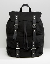 Asos Smart Canvas Backpack In Black