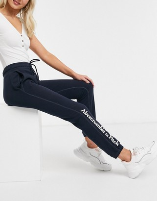 Abercrombie & Fitch high rise logo band joggers in navy