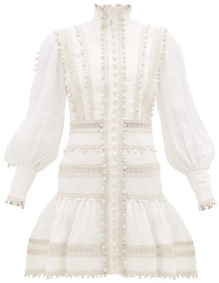 Zimmermann Super Eight Corded Ruffle-hem Linen Mini Dress - Ivory