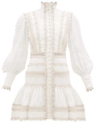 Zimmermann Super Eight Corded Ruffle-hem Linen Mini Dress - Womens - Ivory