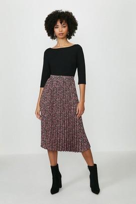 Coast Printed Pleated 3/4 Sleeve Midi Dress