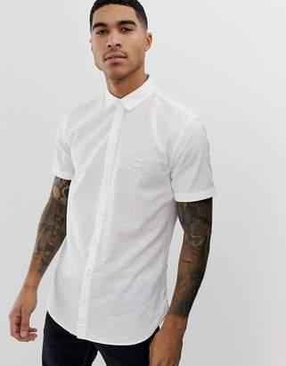 BOSS Magneton slim fit short sleeve oxford shirt in white