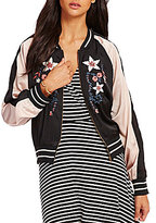 C & V Chelsea & Violet Embroidered Color Block Bomber Jacket