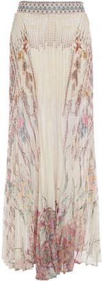 Camilla Crystal-embellished Pleated Printed Chiffon Maxi Skirt