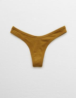 aerie Ribbed High Cut Thong Underwear