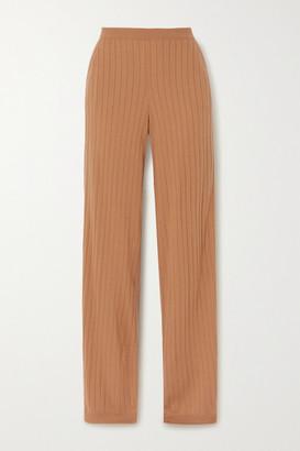 Loro Piana Times Square Ribbed Cashmere Straight-leg Pants - Camel