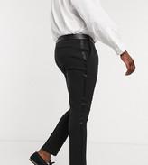 Asos Design DESIGN Plus super skinny tuxedo suit trousers in black