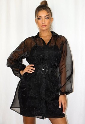 Missguided Black Organza Belted Balloon Sleeve Shirt Dress