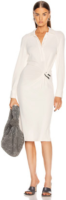 Bottega Veneta Long Sleeve Midi Dress in Optic White | FWRD
