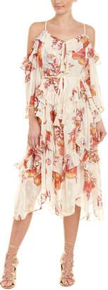Champagne & Strawberry Cold-Shoulder Floral Midi Dress