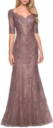 La Femme Beaded V-Neck Lace Gown