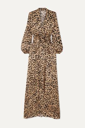 Temperley London Piera Bow-detailed Leopard-print Hammered Silk-satin Gown - Leopard print