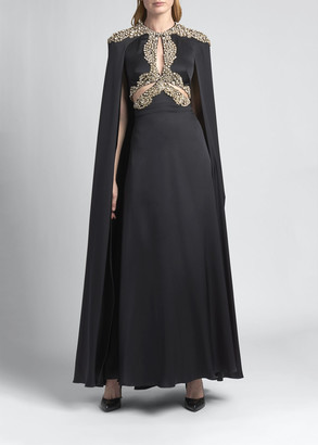 Alexander McQueen Crystal-Embellished Long Cape Gown