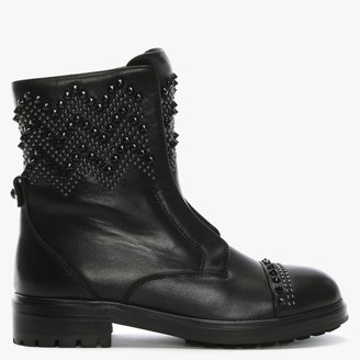 Daniel Poison Black Leather Studded Biker Boots