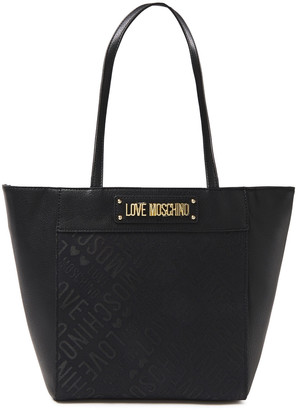 Love Moschino Faux Leather-paneled Jacquard Tote