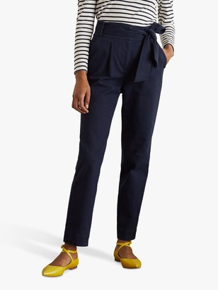 Boden Bude Pleated Tie Waist Cotton Trousers, Navy