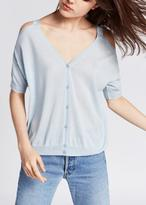 Tara Jarmon V Back Cold Shoulder Sweater Light Blue