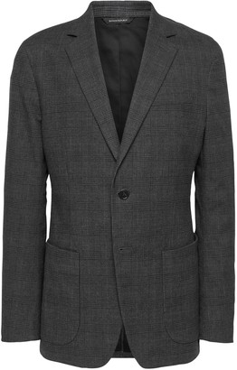 Banana Republic Slim Plaid Stretch-Cotton Blazer