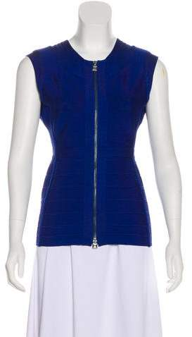 Herve Leger Split Neck Sleeveless Top