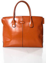 Tod's Tods Orange Leather Open Top 2 Pocket Tote Size Medium