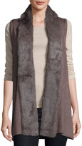 P. Luca Relaxed Knit Vest with Rabbit Fur Trim, Taupe